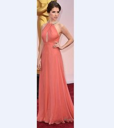 Gorgeous Coral Maxi Celebrity Red Carpet Runway Dresses Evening Wear 2015 Halter Neck Crystals Beaded Long Chiffon Sexy Vestidos Prom Dress