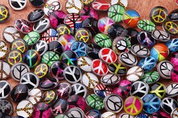 JACK88 NEW Snap Jewelry 50pcs lot Mixed Styles18mm Glass Peace Symbol Pattern Snap Buttons For Ginger Snap Button Jewelry M788