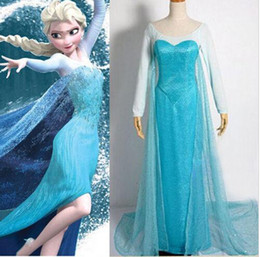Wholesale New Arrival Hot Halloween Gorgeous Ladies Frozen Elsa Princess Blue Party Dress Adult Cosplay Costumes