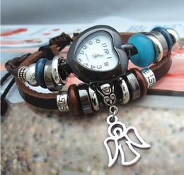 Cuero reloj pulsera corazón en venta-Chica amistad pulseras de reloj de ángulo del amor del corazón trenzado cadena de cuero Adolescente granos de la aleación para la venta al por mayor envío gratuito