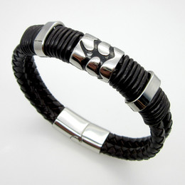 Brand New Men's Stainless steel Silver Black leather Wrist bracelet inside perimeter 8.5 inch Special symbols Nice Gifts