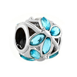 HK MYD Jewelry Wholesale Retail Rhodium Plating Filigree Crystal Dragonfly Bead Elegant Charm Fit Pandora Bracelet
