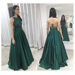 Elegant Long Formal Dress Green Beading Embroidery See Through Back Satin A Line Prom Dress Illusion Back