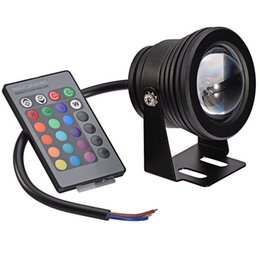 Wholesale 10W Waterproof LED Underwater Spotlights AC DC V RGB Lighting with Key IR Remote Controller Hot Sale WRGB