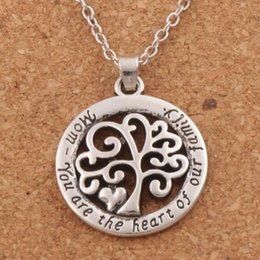 2018 Hot Mom You Are The Heart Of Our Family family Tree Of Life Chain Necklace Fashion Pendant Necklaces N1663 24inches