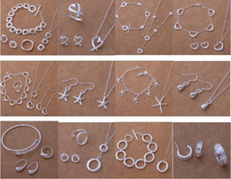Free Shipping with tracking number New Fashion women's charming jewelry 925 silver 12 mix jewelry set 1454