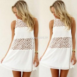 Wholesale Sexy Girls Mini Clothes - Womens Summer Sexy Sleeveless Lace Dresses Formal Party Casual Beach Mini Dress Hot Sale Fashion Girls' Clothing