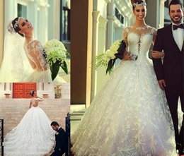 Wholesale Sleeved Lace Backless Wedding Dress - Vintage 2015 applique embroidery lace wedding dress long-sleeved dress