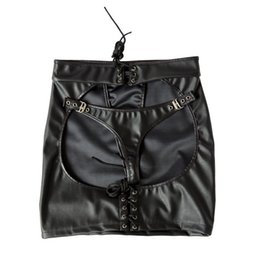 Adjustable size Black Patent Leather Sexy Dominatrix Mooning skirt Fetish Harness Adult Sex Club Dress Anasyrma briefs knickers