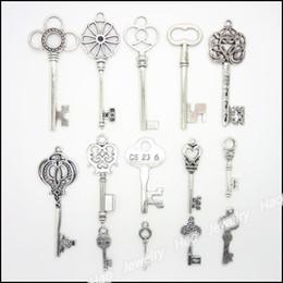 Mixed charm antique silver plated alloy pendants Keys fit bracelet necklace DIY jewelry 56 pcs lot