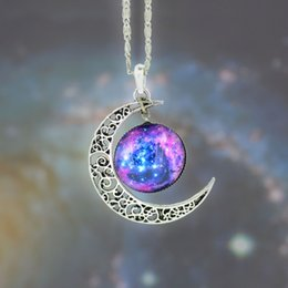 Wholesale New Vintage Womens Fashion Jewelry stall time Star Moon Time Gemstone Pendant Chain Necklace