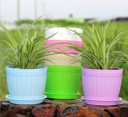 Wholesale Barrel wood Style Plant pot Grain Resin Flowerpot Of Green Flower Pot bonsai pot