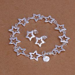 High grade 925 sterling silver Seven bracelets earrings jewelry set DFMSS146 brand new Factory direct 925 silver bracelet earring