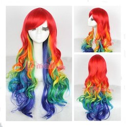 Wholesale 75cm rainbow Harajuku long Multicolour CURLY Wavy cosplay party hair wig