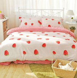 Wholesale Cute pink strawberry bedding sets adults full queen cotton orange banana home textiles flat sheets pillow case duvet cover