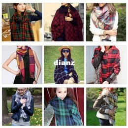 Wholesale Lady Women Winter Large Blanket Oversized Shawl Plaid Check Tartan Scarf Wrap
