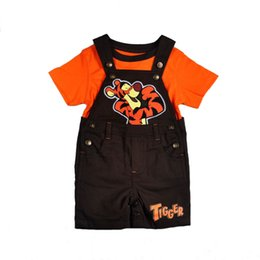 Wholesale Baby boys Piece Cartoon Set Kids tiger Clothing Short Sleeve Tee Tunic Top overalls Outfit Suit Sets