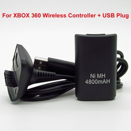2016 charge de contrôleur sans fil xbox Gros-4800mAh Ni-MH batterie rechargeable en USB au câble de charge CC Pour Microsoft Xbox 360 Wireless Controller promotion charge de contrôleur sans fil xbox