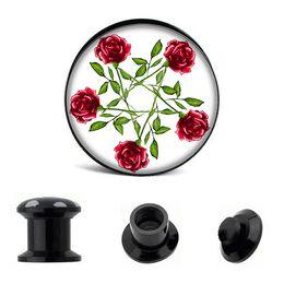 Wholesale acrylic screw fit ear gauges red flower ear plug gauges flesh tunnel plugs ear expander