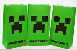 Wholesale 2015 Minecraft Popcorn bag Creeper Minecraft party bag Food bag Minecraft Party Material party decoration paper bag 00