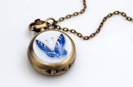 New Fashion bronze design butterfly Enamel watch Han edition sweater chain pendant Necklace pocket watch