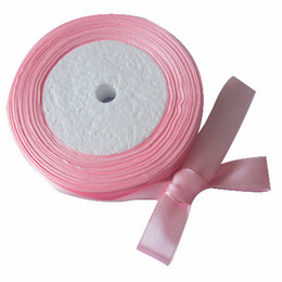 Wholesale 10 Roll Yards quot mm Pink Satin Ribbon Craft Bow Wedding Gift Decoration Colors RIB