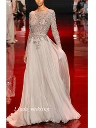 Free Shipping High Quality Designer A-Line Princess High Neck Long Sleeves Backless Applique Floor-length Chiffon Evening Dress