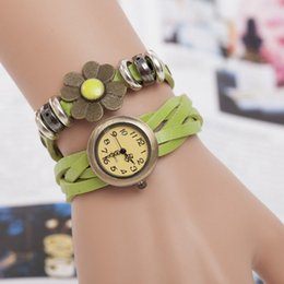 Wholesale Green leather long strap watches hot sales ring decorate dress watches Quartz Analog Watches antique brass case simple style watches hand
