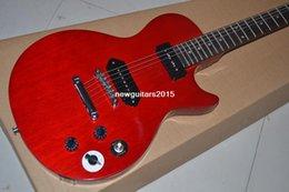2017 guitarras llama roja Calidad superiorNuevo! Tapa roja del arce de la llama roja de la guitarra -1959 de China, pastillas P-90, envío libre de la guitarra eléctrica económico guitarras llama roja
