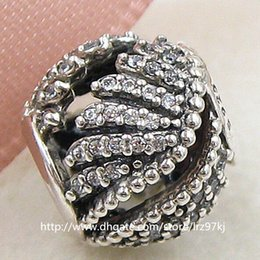 2015 New 100% 925 Sterling Silver Majestic Feathers Charm Bead with Clear Cz Fits European Jewelry Bracelets & Necklace