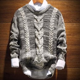 Wholesale European Brand Autumn Style Men s Vintage Cable Knitted Pullover And Sweater New Fall Fashion Basic Jumpers For Man