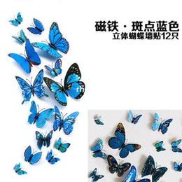 Wholesale 10pcs D simulation of three dimensional magnetic butterfly stickers decorated living room TV background wall window refrigerator door blue