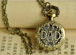DAD Antique bronze Hollow out pocket watch Father's day gift Quartz pendant Pocket watch necklace