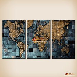 Free Shipping Modern wall art The Abstract World Map Painting On Canvas Canvas Prints Painting Pictures Decor Paintings For Living Room Wall