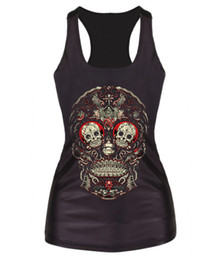 EAST KNITTING F55 Plus Size Print Fitness Vests For Women Skull Printed 3D Vest Tops Camisole Tank Women's Clothing