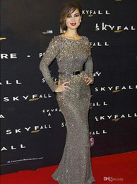 Wholesale New Hot Real Image Elie Saab Evening Dresses Jewel Neckline Long Sleeves Grey Sequin Lace Crystal Beading Sash Sheath Formal Prom Gown