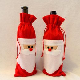 Wholesale Wine Bottle Bag Newest Red Wine Bottle Cover Bags Christmas Dinner Table Decorations Home Party Decors Santa Claus Christmas Supplier MYF276