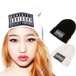 Wholesale Fashion Hot PARENTAL ADVISORY EXPLICIT LYRICS HipHop Beanies and Skullies Cap Men Wool Turban Knitted Hats for Women Winter Hat