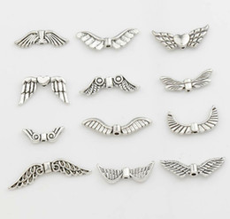 Wholesale 120pcs Styles Assorted Mixed Tibetan Silver Angel Wings Beads Spacers Jewelry DIY Alloy Loose Beads