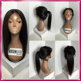 Fashion beautiful long black straight hair full lace wig Human virgin hair