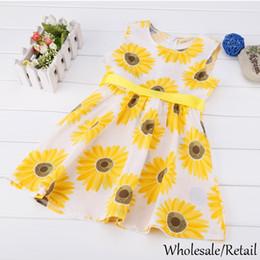 Hot 2015 FashionGirls SunflowerDresses Pattern A-Line Belt Casual Sleeveless Flower Print Summer KidsBaby Clothing Dress Yellow SV014345