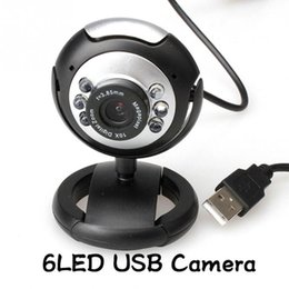 Wholesale-0.3 Mega USB 6 LED Webcam Web Cam Camera Laptop Computer With Mic for Laptop tablet computer video camera
