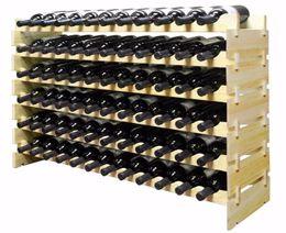 Bastidores de almacenamiento de vino en Línea-72 Botellas Apilables Display de Vino Rack de almacenamiento Pino de madera alternativa a bodega