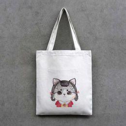 Wholesale Print shopping bag canvas cat or girl patterns shopper bag cm length tote zipper carrier bag black white