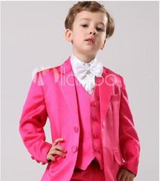 Moda de niños trajes de Dos Botones Chico Esmoquin Muesca Solapa de los Niños Traje de color Rosa Caliente Chico de la Boda/fiesta de Graduación en traje (Chaqueta+Pantalones+Corbata+Chaleco) cheap pink formal tie desde lazo formal de color rosa proveedores
