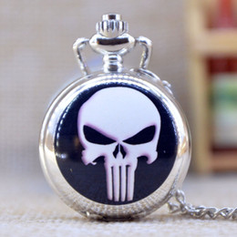 Wholesale New Fashion Silver Elegent Skeleton head with Mirror Case Quartz Pocket Watch Analog Pendant Necklace Mens Womens Gifts P368