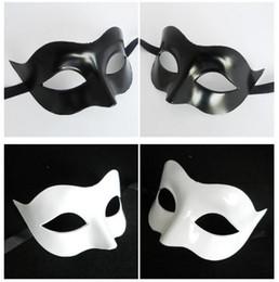 Wholesale Masquerade MEN Black White painting masks Mardi grass masks antique Roman mask Party masks christmas party decoration Retail package