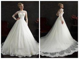 Promotion manches longues boutons robe backless de mariage Robes de mariée A-ligne Robe de mariée en tulle d'ivoire à manches longues