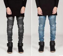 Hiphop Rock Vegan Armor Skinny Joggers Pants   Light Wash Cotton Slim Men Motorcycle Denim Jeans