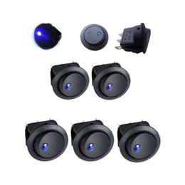 Wholesale 5PCS Car V Round Rocker Dot Boat Blue LED Light Toggle Switch SPST ON OFF